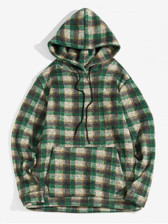 womens Plaid Pattern Kangaroo Pocket Knitted Hoodie - SEA TURTLE GREEN S
