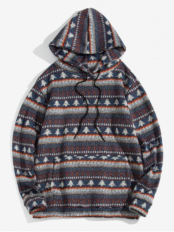 shop Christmas Tree Pattern Casual Hoodie - SLATE BLUE XL