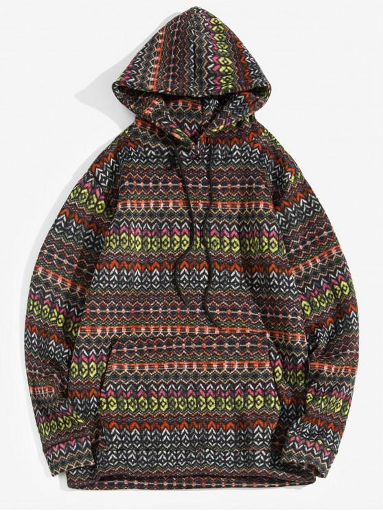 shops Geometric Pattern Drawstring Knitted Hoodie - BLACK XL