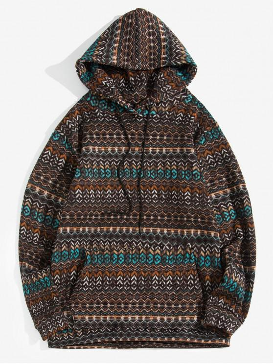 new Geometric Pattern Drawstring Knitted Hoodie - COFFEE M