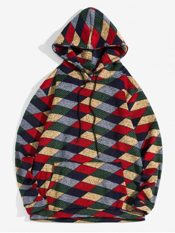 latest Geometric Pattern Kangaroo Pocket Hoodie - RED 2XL