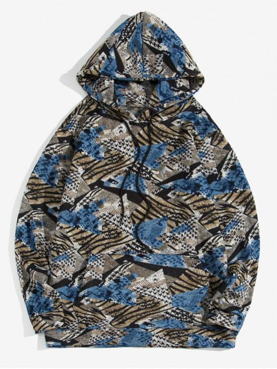 unique Geometric Pattern Casual Pocket Hoodie - SKY BLUE S