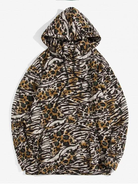 buy Animal Printed Casual Pocket Hoodie - COFFEE L