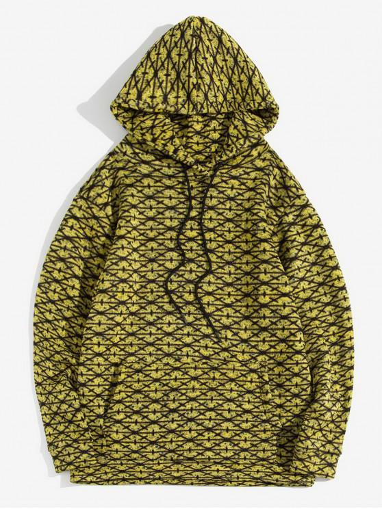 shops Cross Pattern Kangaroo Pocket Casual Hoodie - YELLOW S