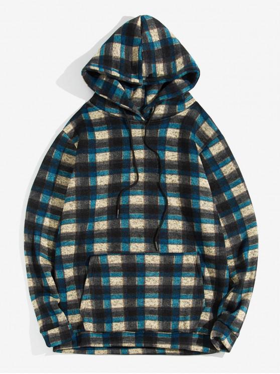 latest Plaid Pattern Kangaroo Pocket Knitted Hoodie - CADETBLUE M