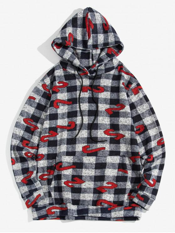 trendy Plaid Figure Pattern Leisure Hoodie - CADETBLUE L