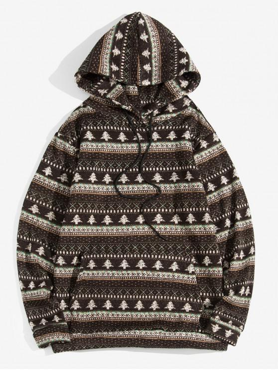 fashion Christmas Tree Pattern Casual Hoodie - DEEP COFFEE XL