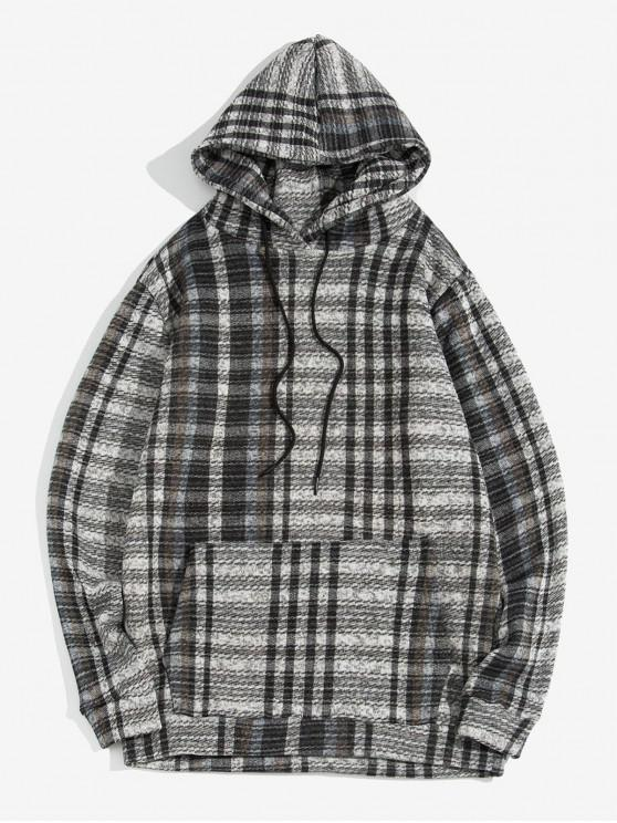 women Plaid Pattern Casual Pocket Design Hoodie - GRAY M