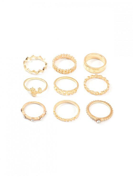sale 9Pcs Hollow Floral Rhinestone Ring Set - GOLD