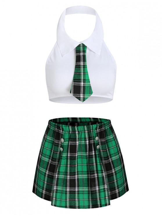 lady Plaid Slit Schoolgirl Costume - MEDIUM SEA GREEN S