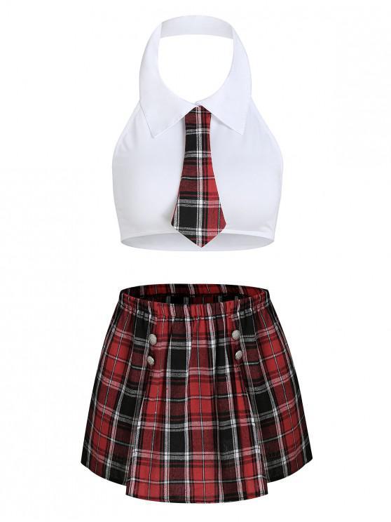 hot Plaid Slit Schoolgirl Costume - WHITE S