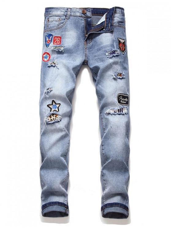 Carta Icono bordados pantalones vaqueros ocasionales - Denim Blue 2XL