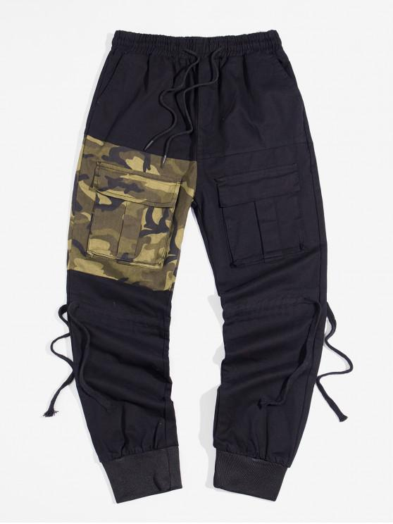 hot Color Spliced Pocket Decorated Jogger Pants - CAMOUFLAGE GREEN S