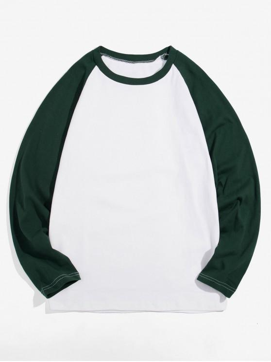 chic Casual Color-blocking Long-sleeved T-shirt - MEDIUM SEA GREEN 3XL