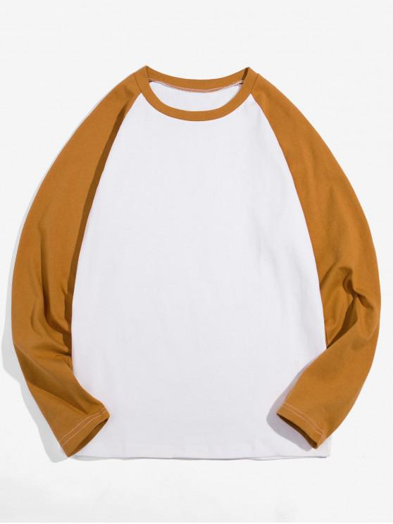 latest Casual Color-blocking Long-sleeved T-shirt - COFFEE XL