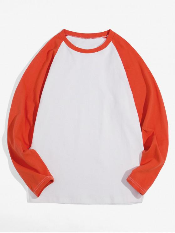 womens Casual Color-blocking Long-sleeved T-shirt - ORANGE L