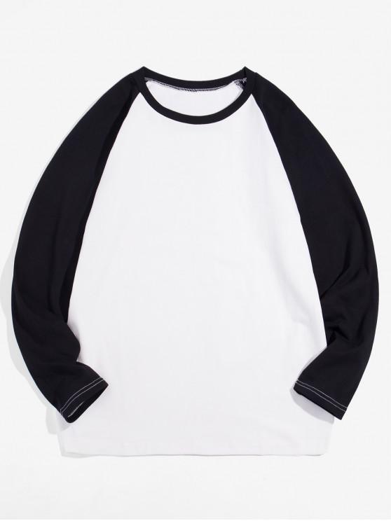 women Casual Color-blocking Long-sleeved T-shirt - BLACK 4XL