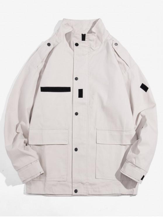lady Pocket Decorated Zip Up Jacket - KHAKI M