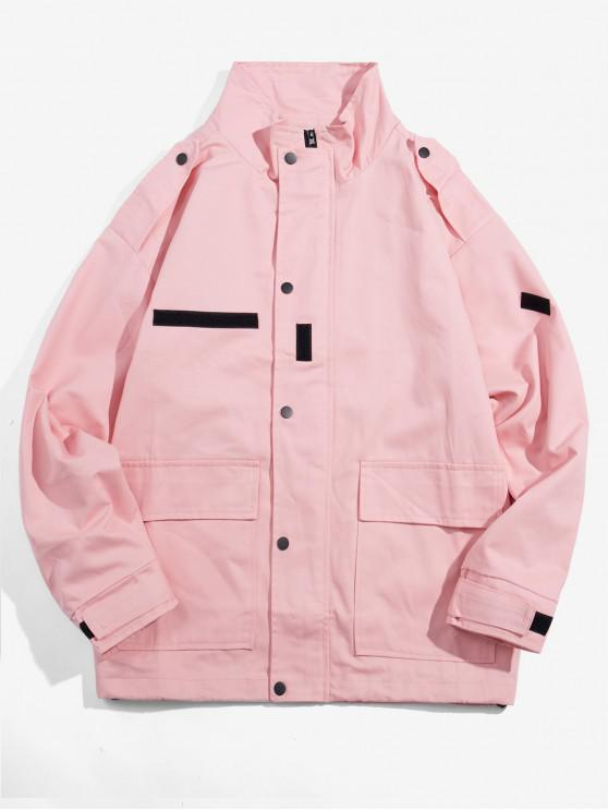shop Double Pocket Decorated Zip Up Jacket - PINK XL