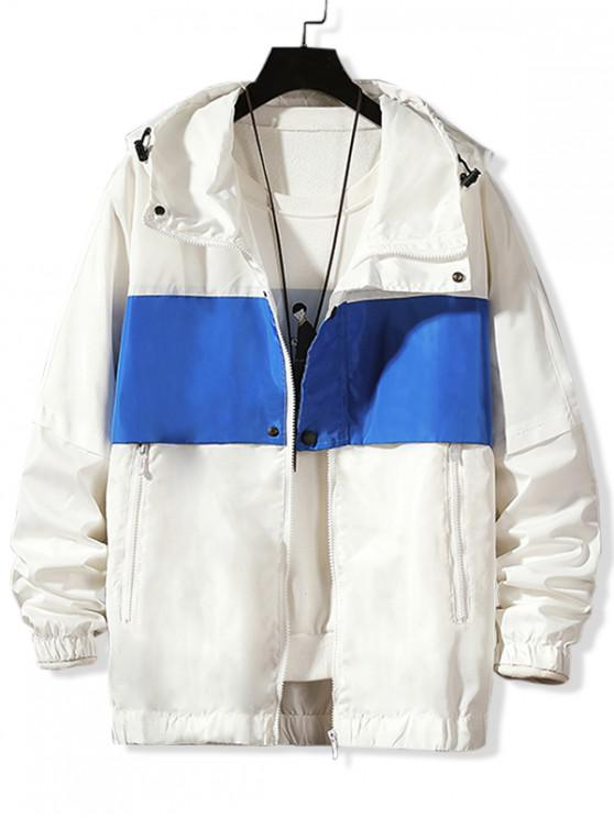 latest Letter Printed Color Spliced Hooded Jacket - WHITE M