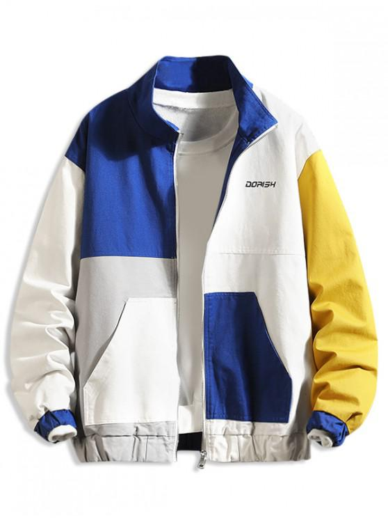 womens Color-blocking Letter Print Zip Up Jacket - MULTI-A 2XL