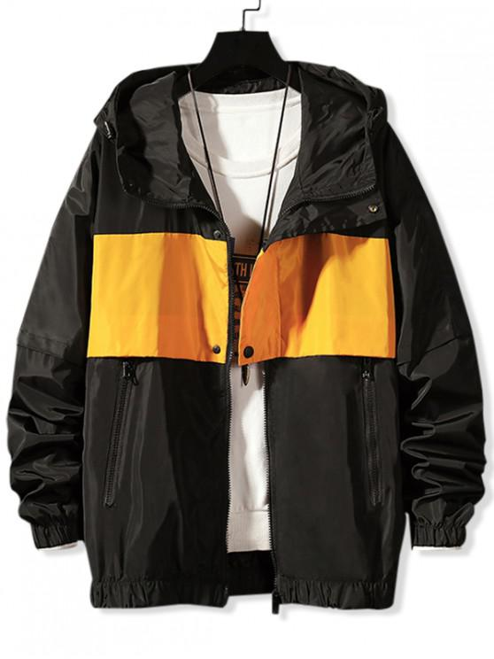 latest Letter Printed Color Spliced Hooded Jacket - BLACK M