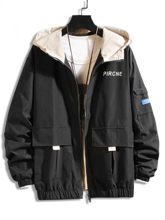 shop Letter Print Pocket Design Casual Hooded Jacket - BLACK M