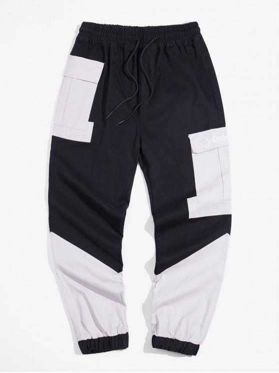 Bolsillo de la decoración en color empalmado basculador Pantalones - Negro XS
