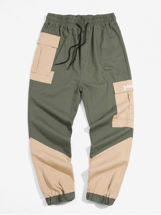 shop Pocket Decoration Color Spliced Jogger Pants - ARMY GREEN XS