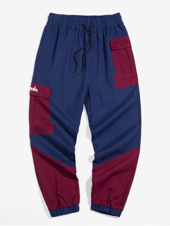 hot Pocket Decoration Color Spliced Jogger Pants - CADETBLUE L
