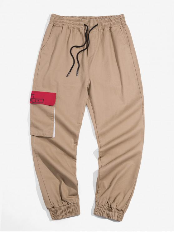 Pantalones letra del bolsillo decorado basculador - Caqui 3XL