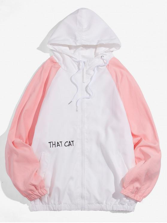 women Cartoon Letter Print Casual Jacket - WHITE 4XL