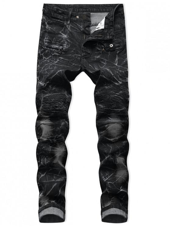 new Drape Panel Patchwork Long Jeans - BLACK 32