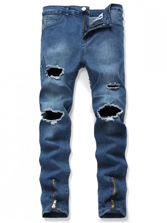 womens Zip-hem Destroy Wash Zip Fly Jeans - DENIM DARK BLUE 32