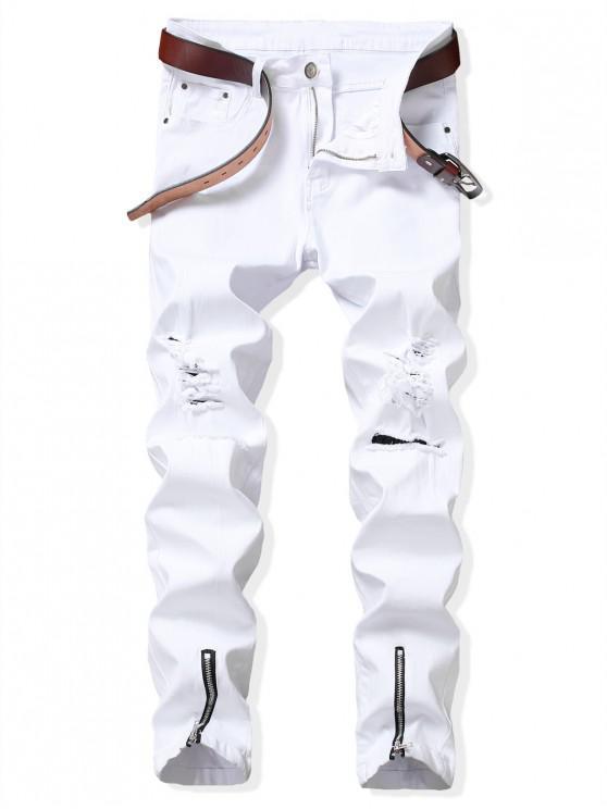 lady Zip Hem Long Ripped Denim Pants - WHITE 38