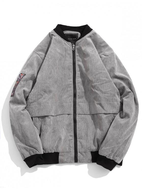 best Color Blocking Letter Graphic Print Fluffy Cord Jacket - BATTLESHIP GRAY M