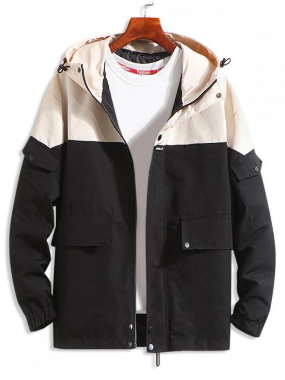 unique Letter Pattern Pocket Decorated Hooded Jacket - BLACK L