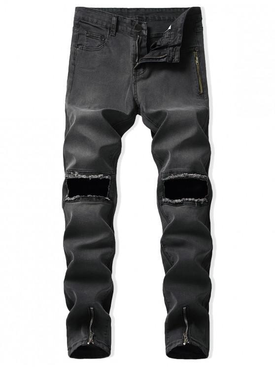 women's Destroy Wash Zip-hem Long Denim Pants - BLACK 32