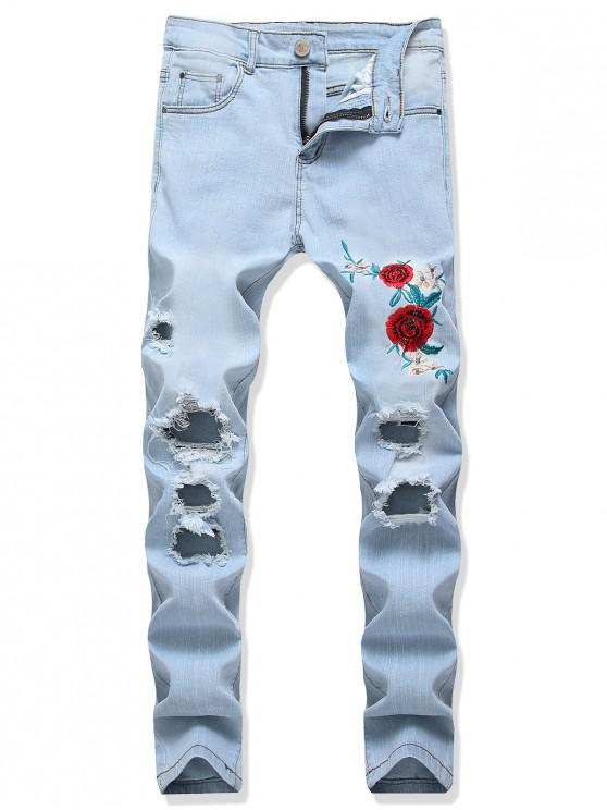 latest Flower Embroidery Ripped Long Denim Pants - JEANS BLUE 34