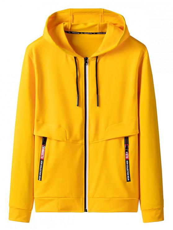 Zip Up bolsillo de la decoración chaqueta con capucha - Amarillo L