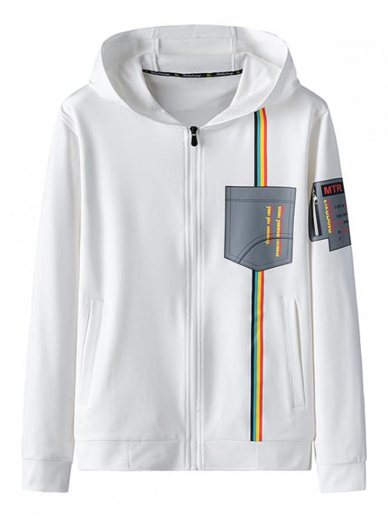 fashion Graphic Print Zip Up Hooded Jacket - WHITE L
