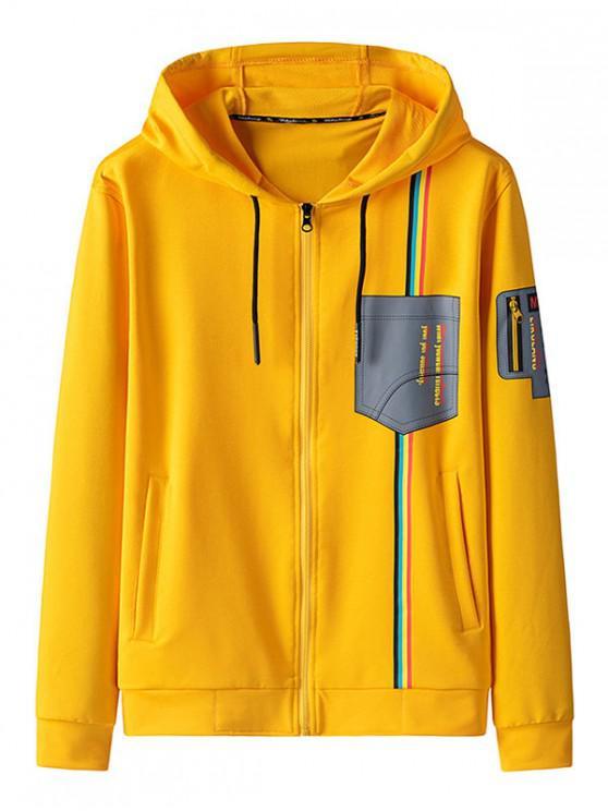 fancy Graphic Print Zip Up Hooded Jacket - YELLOW S