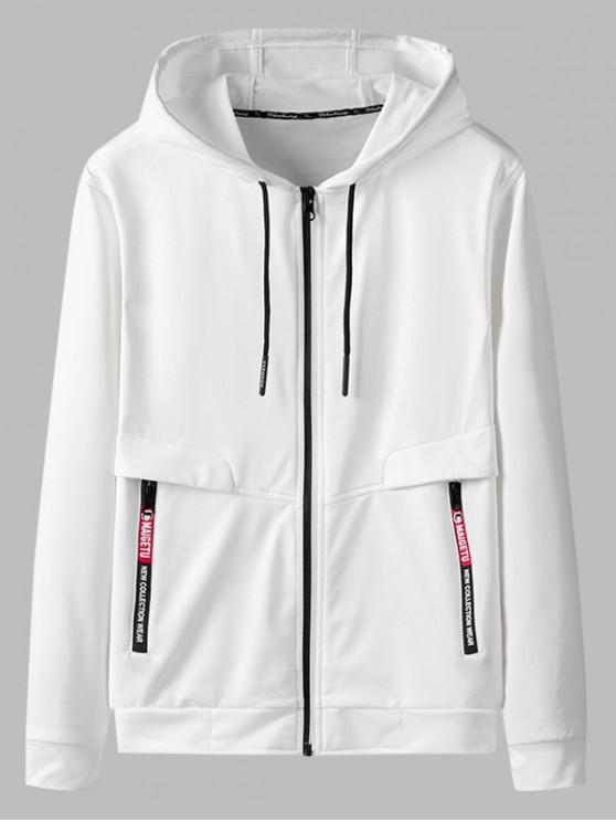 online Zip Up Pocket Decoration Hooded Jacket - WHITE XS