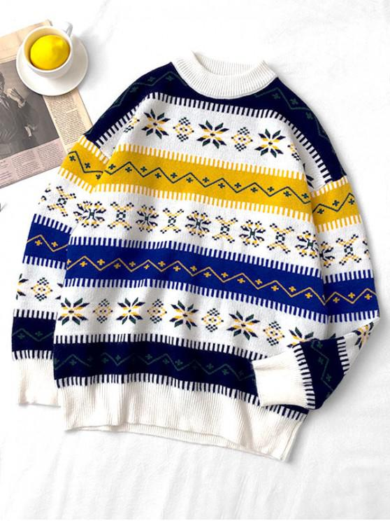 sale Snowflake Pattern Round Neck Sweater - WHITE L