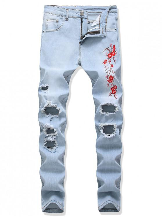 womens Floral Embroidery Destroy Wash Distressed Long Jeans - JEANS BLUE 36