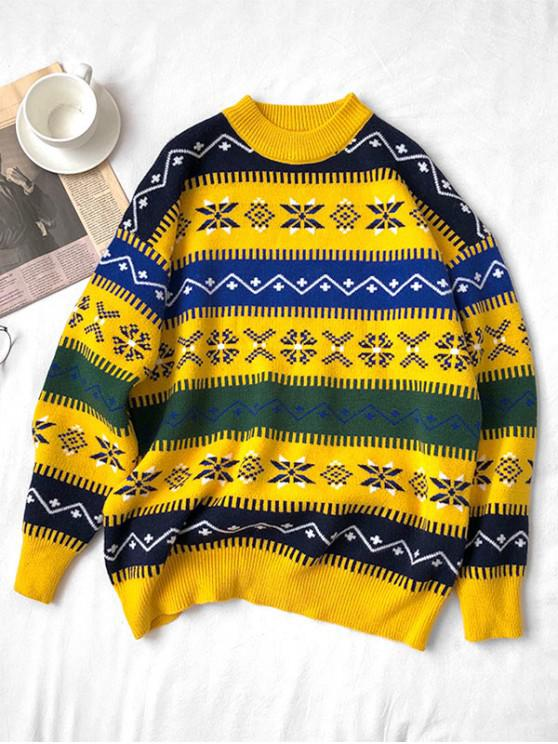 affordable Snowflake Pattern Round Neck Sweater - YELLOW 4XL