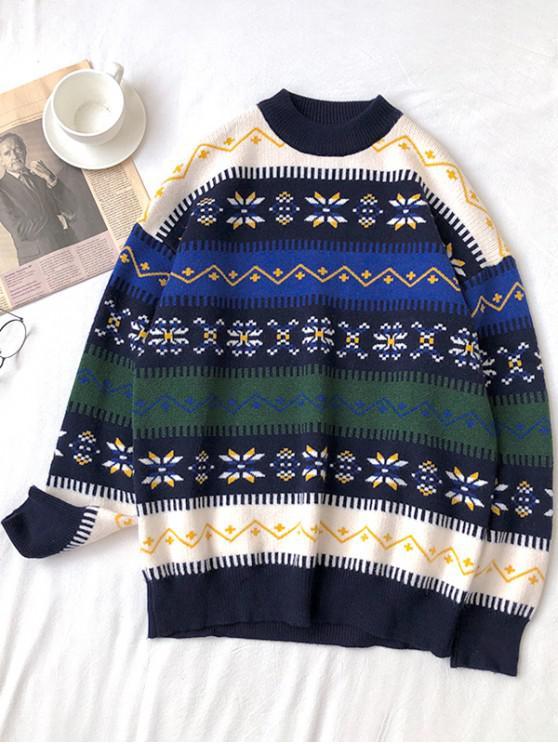women's Snowflake Pattern Round Neck Sweater - DEEP GREEN 3XL