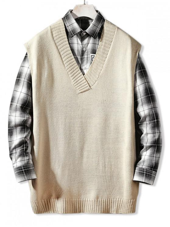 new Solid Color Casual Sweater Vest - WARM WHITE XL