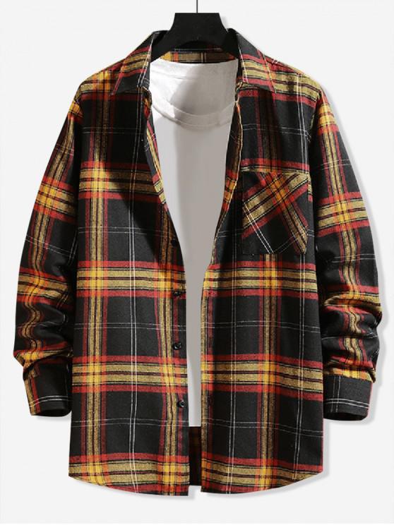 women Plaid Chest Pocket Button Shirt - BLACK L
