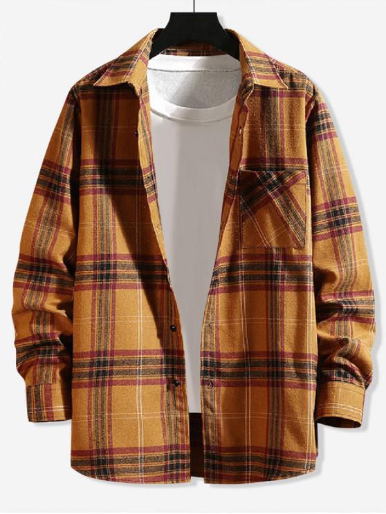 lady Plaid Chest Pocket Button Shirt - YELLOW XL